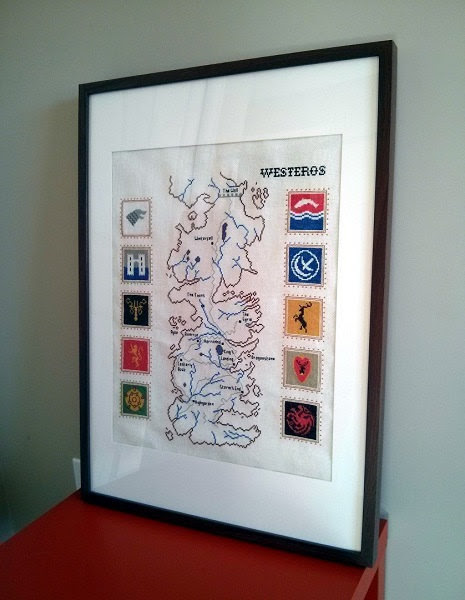Awesome Cross Stitched Map of Westeros with House Sigils by RandomlyGenerated