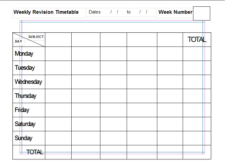 Blank Revision Timetable Template | Service | Resume | Tamplate