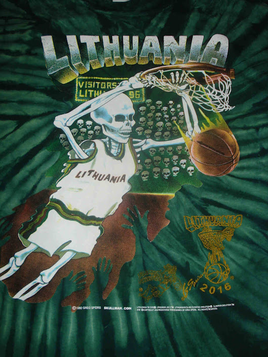 Original 1992 - 2016 Lithuania Tie Dye basketball t-shirts Skullman Slam Dunking Skeleton (1992 Barcelona Olympics tie-dyed warm-up uniforms)