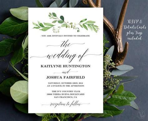 Greenery Wedding Invitation, Printable Garden Greenery