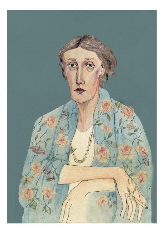 Large Virginia Woolf Portrait Limited Edition A3 Giclee Print by Bett Norris.