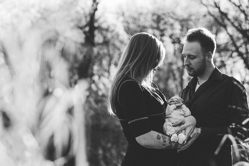 Jennifer and Matt's in-home newborn session with baby Corran. Beautiful outdoor spring photos taken with the family at Honenegah Forest Preserve.