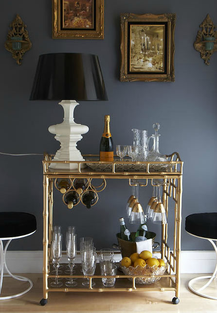 The Decorista - Amazing vignette with gold faux bamboo Society Social Sedgewick Bar