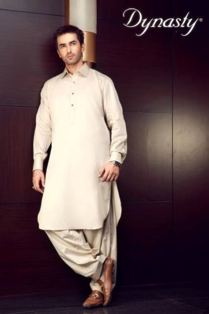 Mens-Wear-Cotton-Embroidered-Kurta-Pajama-By-Dynasty-Fabrics-New-Fall-Collection-2013-14-15