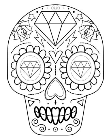 Dibujo De Calavera De Azúcar Con Diamantes Para Colorear Dibujos