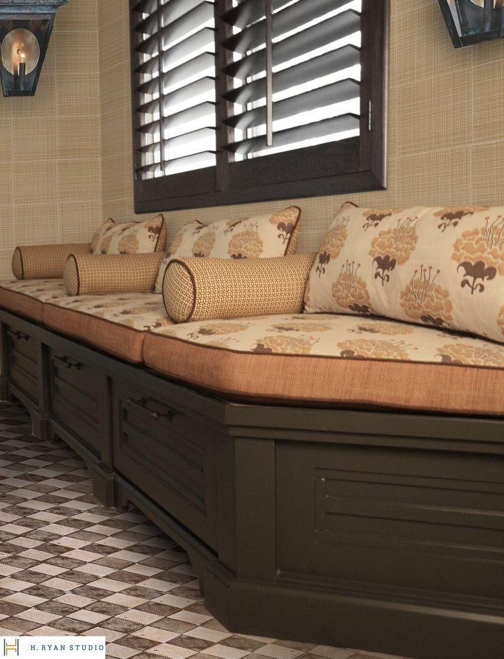 H. Ryan Studio -  Custom Built In Hall Bench w/ custom cushions, wallpaper & Lanterns, Tabarka Studio Tile