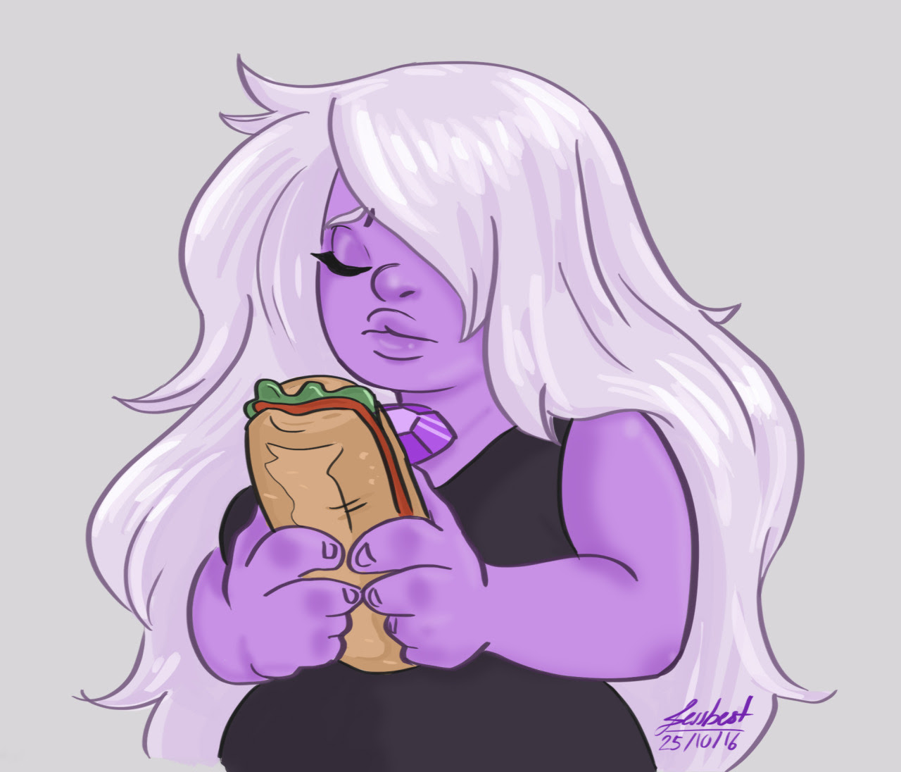 "Why does work have to exist…anyway here's a quick Amethyst holding ""mi torta"" It was my fist time drawing her and I'm happy about it"