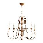 Quorum Lighting 6006-6-94, Salento 1 Tier Chandelier Lighting, 6LT, 120 Watts, French Umber