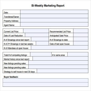 Marketing Report Template - Writing Word Excel Format