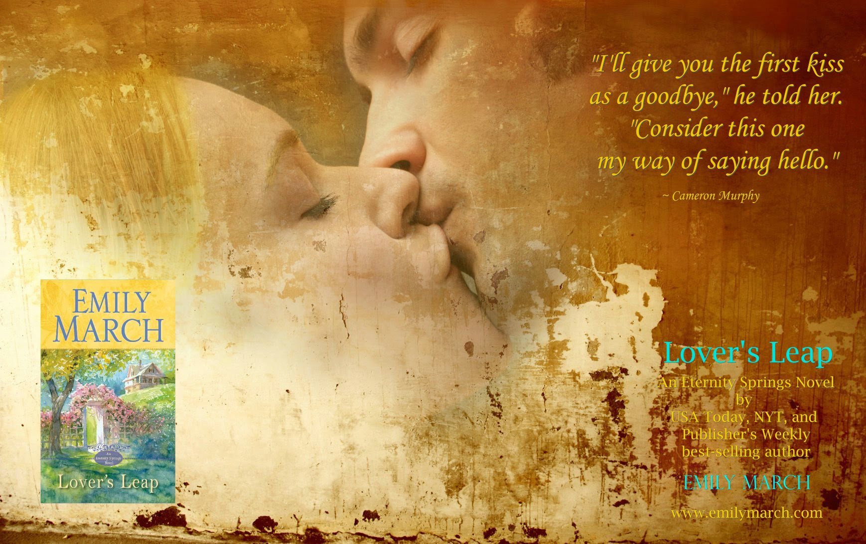 Photo of a couple in a tender kiss with a quote from Lover's Leap, a contemporary romance novel by author Emily March