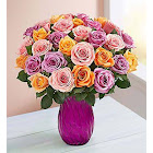 1-800-Flowers Sorbet Roses 36 Stems with Purple Vase