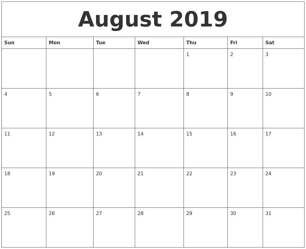 august 2019 monthly printable calendar