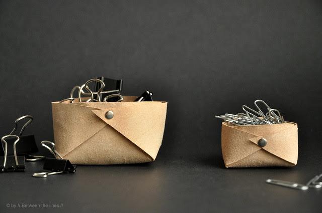 Folded leather basket :: a minimalistic DIY