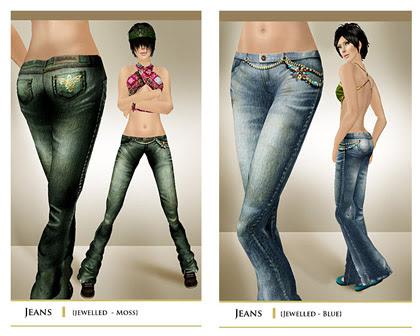 layout jeans lightblue+green jewelled
