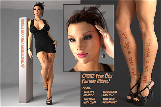 monstrousfx : I will pose this gorgeous model with your message or logo for $5 on www.fiverr.com