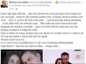 Pai de Pietra Cavallaro fez apelo em rede social (Foto: Reprodução/Facebook)