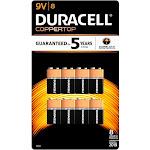 Duracell Coppertop Alkaline Batteries, 9V - 8 count