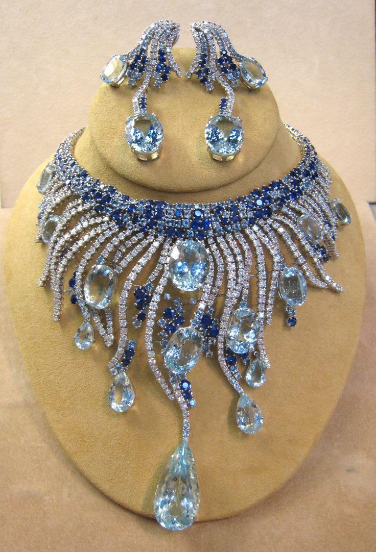Diamond Sapphire Aqua Necklace
