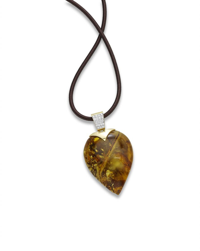 Pendant necklace in 18k gold, diamonds, and amber from Barbara Westwood