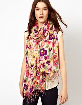 Image 1 ofWarehouse Bright Pansy Print Scarf
