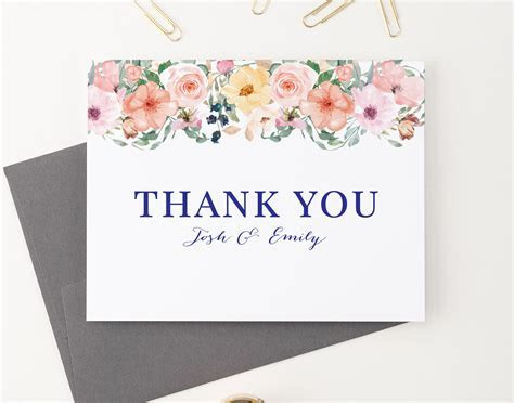 Personalized Wedding Thank You Cards, Folded Couples