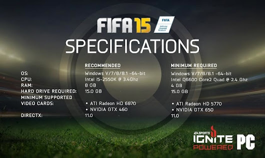 FIFA 15 Recommended PC Specifications