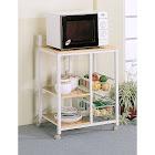 Porch & Den Earl White/ Natural Wood 2-Shelf Kitchen Cart (Green)