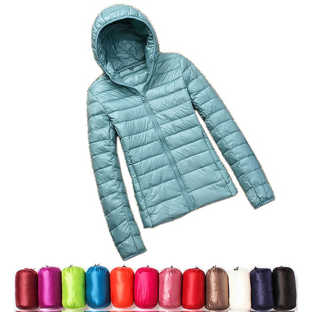 Women Winter Ultra Light 90% White Duck Down Jacket Fashion Casual Female Outerwear Plus Size Water