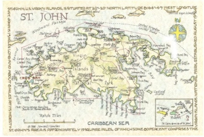St John Us Virgin Islands Map In Two Sizes