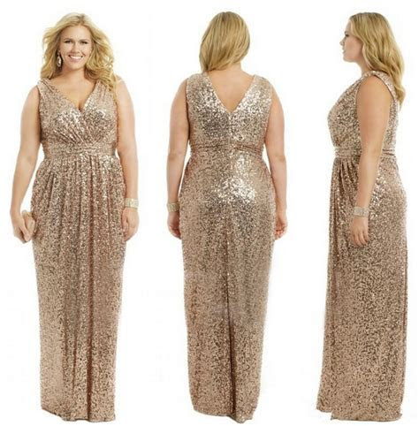 Gold Wedding Prom Long Gowns Plus Size Elegant Champagne