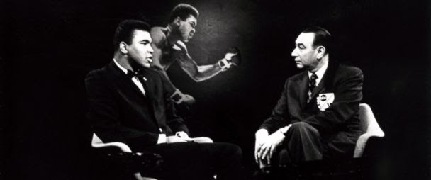 "PHOTO:Boxer Muhammad Ali speaks with Howard Cosell on ABCs ""Wide World of Sports,"" in the late 1960s."