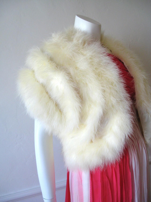 70s Ivory MARIBOU FEATHER Jacket
