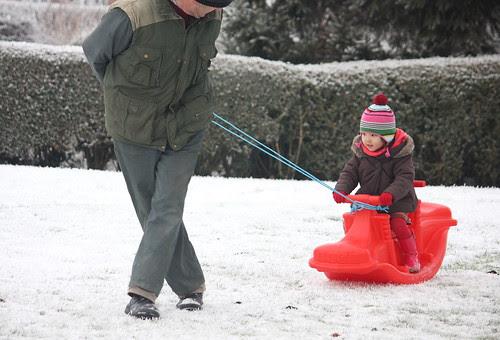 a makeshift sleigh!