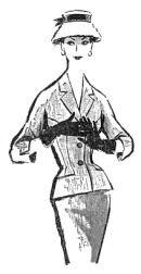 """Modelo de tailleur em tweed de algodão, publicado em 25 de novembro de 1956, na """"Folha da Manhã"""""""