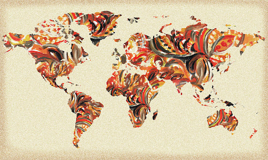 World Map Organic Brush Strokes by Irina Sztukowski