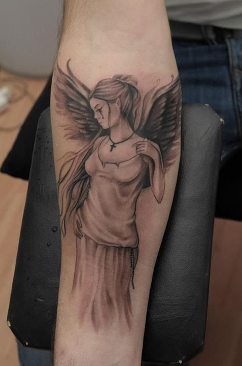 Crying Angel On Arm Tattoomagz