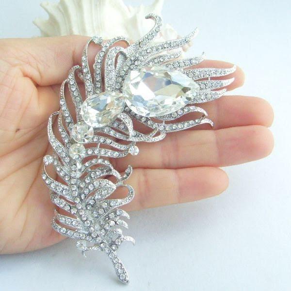 High Quality Bridal Rhinestone Crystal Brooch Pin, Wedding accessories, Bridal Peacock Feather Brooch Pin, P95038D1
