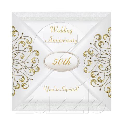 Elegant 50th Wedding Anniversary White Gold Invitation