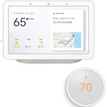 Google Home Hub with Google Assistant GA00516-US with Nest Learning Thermostat E - White