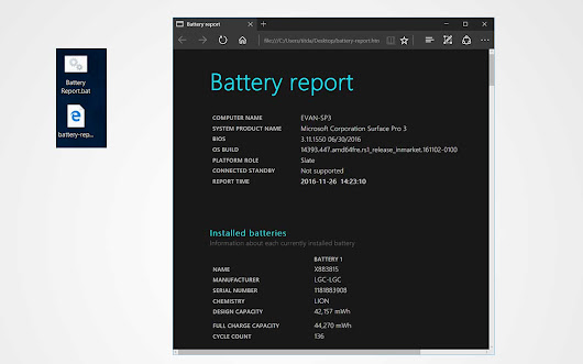 Quick access to Surface's battery report with a simple batch file