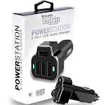 PowerUp 4 USB Port Car Charger Adapter for iPhone Samsung and More Black