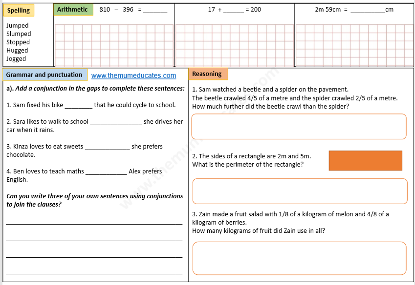 Year 3 Math And English Worksheets The Mum Educates
