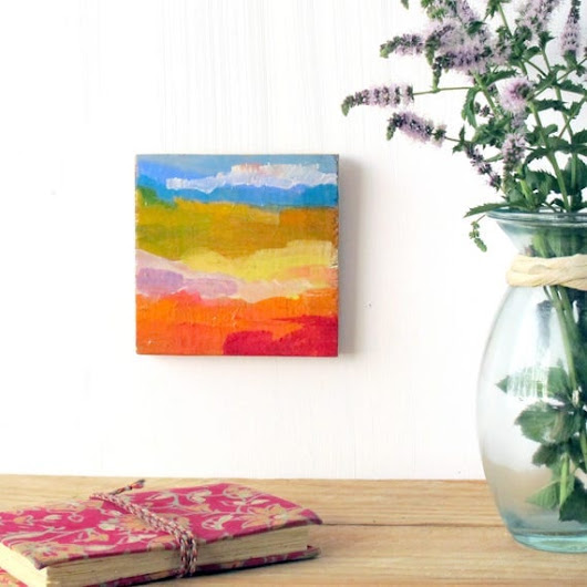 abstract landscape painting in warm colours contemporary art