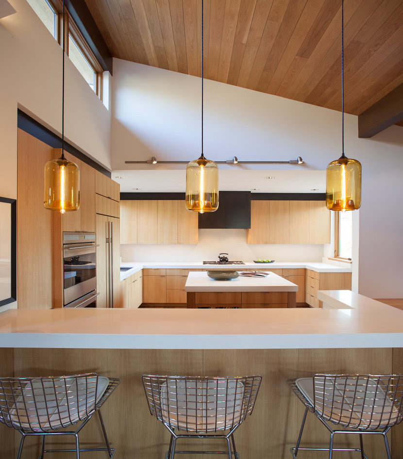 Kitchen Island Pendant Lighting Emits Golden Glow in Sun Valley, Idaho Home
