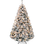 Best Choice Products 7.5ft Pre-Lit Snow Flocked Artificial Christmas Pine Tree Holiday Decor w/ 550 Warm White Lights - Green
