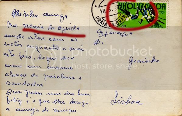 Verso do postal da Aguda