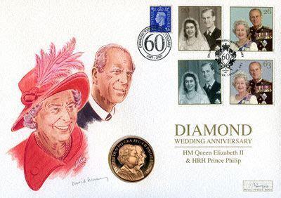 2007 British £5 Crown   Diamond Wedding PNC