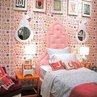 Orange Headboard - Contemporary - girl's room - Amie Corley Interiors
