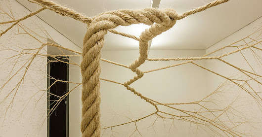 Untwisted Ropes Tacked to Gallery Walls Appear to Sprout like Trees