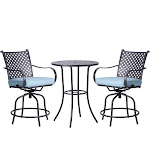 Peaktop 3pc Patio Swivel Bar Height Bistro Set with Cushions - Teamson